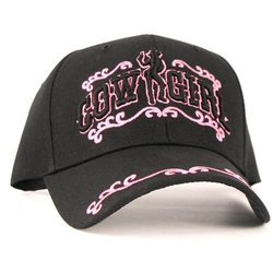 Embroidered Cow Girl Adjustable Baseball Hat - Pink Star