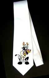 Party Decoration Necktie with cow, holstein, standing, spots, bell