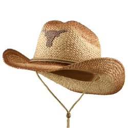 Western Tea Stained Raffia Cowboy Straw Hat - Brown Cow