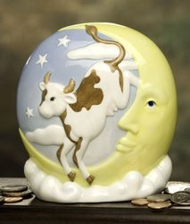 Cow Over Moon Porcelain Coin Bank Ibis and Orchid Design