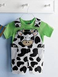 Cow Overalls / Shorts and Tee - EiEiO collection by Mud Pie