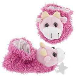 Fuschia Cow Slippers for Infants