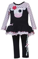 New Pink Heart Cow Outfit with Leggins ~ 24M (F623809)