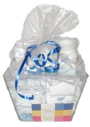 Noa Lily Extra Large Layette Gift Basket, Blue Cow, 6 Months
