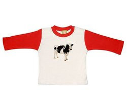 Varsity Tee with Graphic, 3 - 6m, Red - Cow