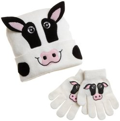 Western Chief Infant/Toddler Cow Knit Hat and Glove Set,White,One Size