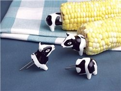 Charcoal Companion CC5007 Cow Corn Holders, 4 pairs