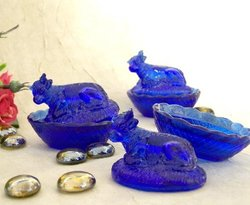 Cow Dish Mini Blue Glass Set of 12