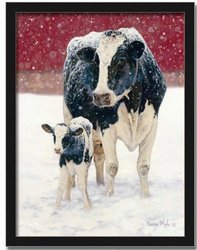 First Christmas Holstein Cow Art Print Picture Framed 12x16