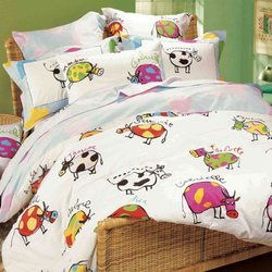 Lily & Lulu - Multicolor Cow, Duvet Cover Set, Twin