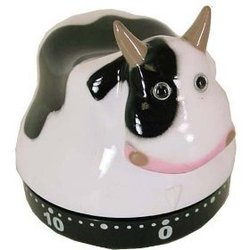 Novelty Chicken or Cow Fun Design Kitchen Timer French Design, Cow
