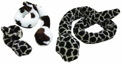 West Paw Design Li¿l S-S-Stretch Snake Tug and Squeak Toy for Dogs, Cow