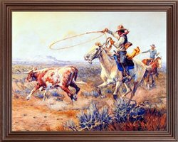 Western Rodeo Cowboys Texas Longhorn Cow Cattle Steer Picture Art Print