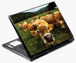 17' Universal Laptop Skin Decal Cover - Big Head Cow