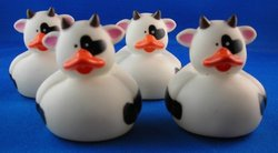 4 (Four) Cow Rubber Duckies Party Favors
