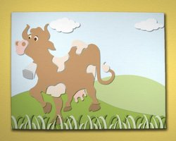 Baby Wall Art - Cow with Character Canvas Mural Farm Theme Wall Art