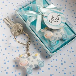 Blue Toy Cow Key Chains 'Qty. 36'