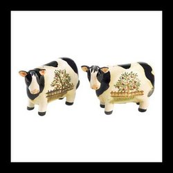COUNTRY COW KITCHEN TABLE TOP SALT PEPPER SHAKER SET