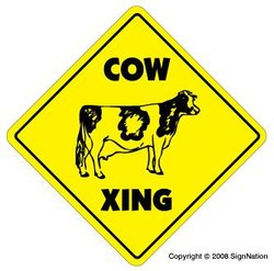 COW CROSSING -Sign- xing signs jersey cattle farm print