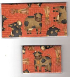Checkbook Cover Debit Set Made with Moda Moo Cow Purple Fabric