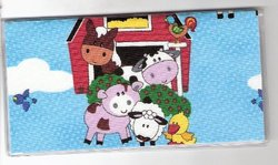 Checkbook Cover Made with Cute Farm Animals Cow Fabric