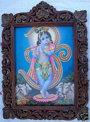 Child Krishna, Om & Cow Pic in Wood Craft Frame