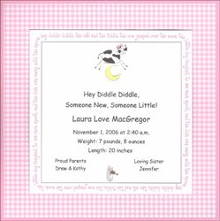 Cow Over the Moon Printable Baby Girl Birth Announcement
