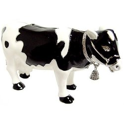 Cow With Crystal Cow Bell Bejeweled Trinket Box