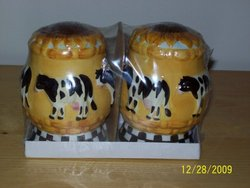 Cow and Sunflower Design Salt and Pepper Shakers