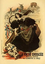 GIRL KILLING COW LA VACHE ENRAGEE 1897 FRENCH SMALL VINTAGE POSTER REPRO