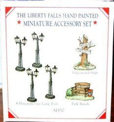 Liberty Falls Five Piece Accessory Set Cow Flagpole & Benches AH52