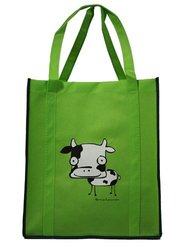Moo Cow on Lime Green Bag with Green Trim