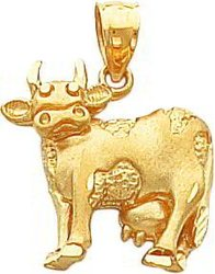 14K Yellow Gold Cow Pendant