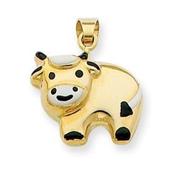 14k Enameled Cow Charm - Measures 17x15mm