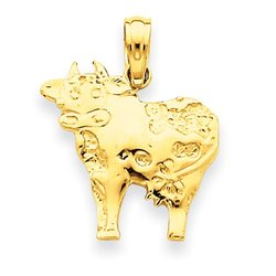 14k Gold Polished Cow Pendant