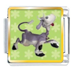 Animal Photo Dancing Cow Italian Charms Bracelet Link
