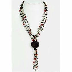 Black Cow Bean & Colorin Bean Spongie Necklace KWF315