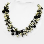 Black Cow Bean & Jojoba Seed Spongie Necklace KWF317