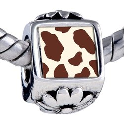 Brown Cow Skin Beads - Pandora Bead & Bracelet Compatible