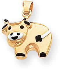 Cow Enamel Charm, 14K Yellow Gold