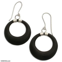 Cow horn earrings, 'Sophisticated Moons' 1.2' W 2.2' L