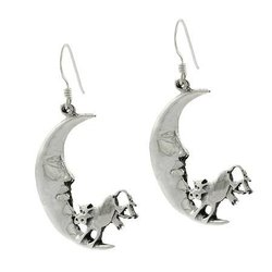 Nursery Sterling Silver The Cow Jumped over the Moon Earrings
