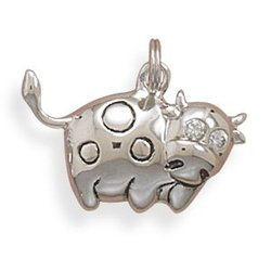 Rhodium Plated Sterling Silver Cow Charm, 7/8 inch wide, Cubic Zirconia Eyes