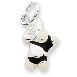 Sterling Silver Black And White Enamel Cow Charm