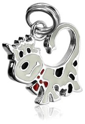 Sterling Silver Epoxy Cow Charm