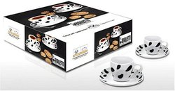 Bialetti Mukka Cow Print Cappuccino Cups and Saucers. Set of 4