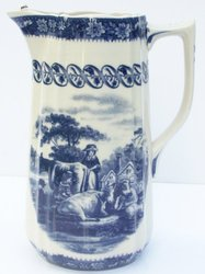 Blue French Toile Pitcher Farm Cow Scene