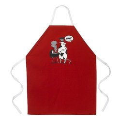 Cow BBQ Apron - Red