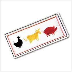 Cow, Chicken and Pig Ceramic Serving Tray