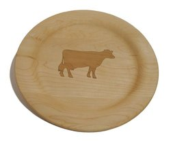 J.K. Adams 10-Inch Laser-Engraved Wooden Plate, Cow